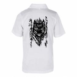 Детская футболка поло Black wolf with patterns