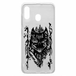 Чехол для Samsung A20 Black wolf with patterns