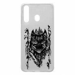 Чехол для Samsung A60 Black wolf with patterns