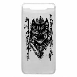 Чехол для Samsung A80 Black wolf with patterns