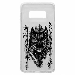 Чехол для Samsung S10e Black wolf with patterns