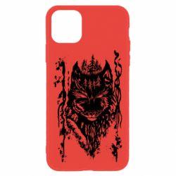 Чехол для iPhone 11 Black wolf with patterns