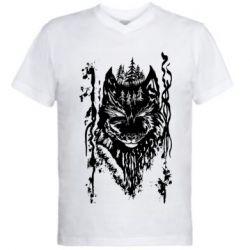 Мужская футболка  с V-образным вырезом Black wolf with patterns