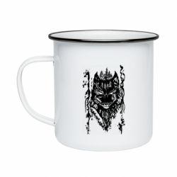 Кружка эмалированная Black wolf with patterns