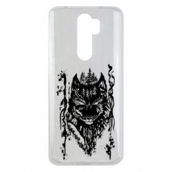 Чехол для Xiaomi Redmi Note 8 Pro Black wolf with patterns