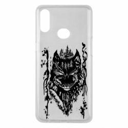 Чехол для Samsung A10s Black wolf with patterns