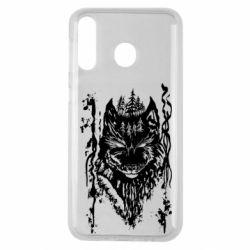 Чехол для Samsung M30 Black wolf with patterns