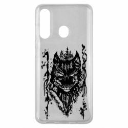Чехол для Samsung M40 Black wolf with patterns