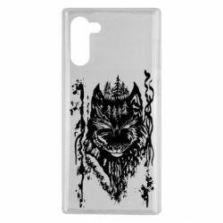 Чехол для Samsung Note 10 Black wolf with patterns