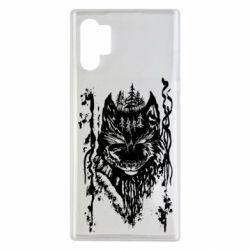 Чехол для Samsung Note 10 Plus Black wolf with patterns