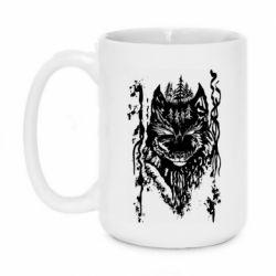 Кружка 420ml Black wolf with patterns