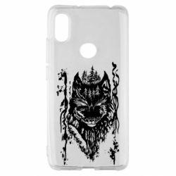 Чехол для Xiaomi Redmi S2 Black wolf with patterns