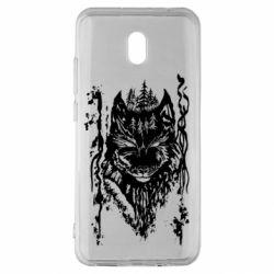 Чехол для Xiaomi Redmi 8A Black wolf with patterns