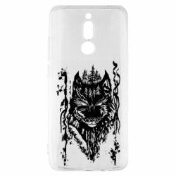 Чехол для Xiaomi Redmi 8 Black wolf with patterns