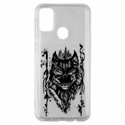 Чехол для Samsung M30s Black wolf with patterns