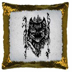 Подушка-хамелеон Black wolf with patterns