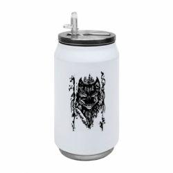 Термобанка 350ml Black wolf with patterns