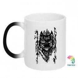 Кружка-хамелеон Black wolf with patterns