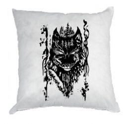 Подушка Black wolf with patterns