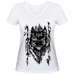 Женская футболка с V-образным вырезом Black wolf with patterns