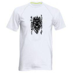 Мужская спортивная футболка Black wolf with patterns