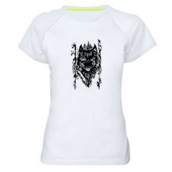 Женская спортивная футболка Black wolf with patterns