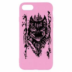 Чехол для iPhone 7 Black wolf with patterns