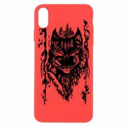 Чехол для iPhone X/Xs Black wolf with patterns