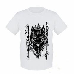 Детская футболка Black wolf with patterns