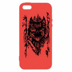 Чехол для iPhone5/5S/SE Black wolf with patterns