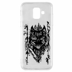 Чехол для Samsung A6 2018 Black wolf with patterns