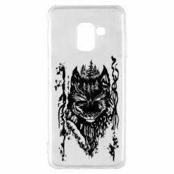 Чехол для Samsung A8 2018 Black wolf with patterns