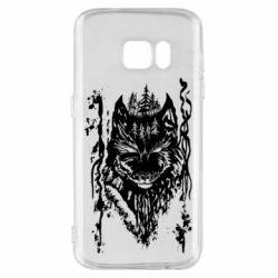 Чехол для Samsung S7 Black wolf with patterns