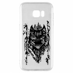 Чехол для Samsung S7 EDGE Black wolf with patterns