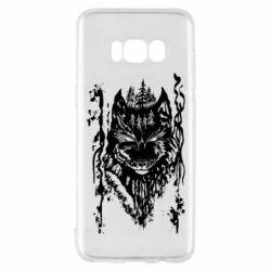 Чехол для Samsung S8 Black wolf with patterns