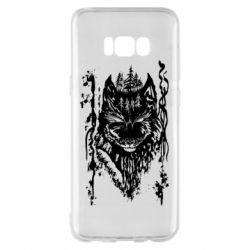 Чехол для Samsung S8+ Black wolf with patterns