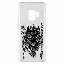 Чехол для Samsung S9 Black wolf with patterns