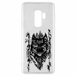 Чехол для Samsung S9+ Black wolf with patterns
