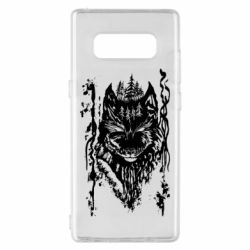 Чехол для Samsung Note 8 Black wolf with patterns