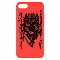 Чехол для iPhone 8 Black wolf with patterns