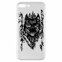 Чехол для iPhone 8 Plus Black wolf with patterns