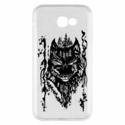 Чехол для Samsung A7 2017 Black wolf with patterns