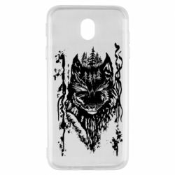Чехол для Samsung J7 2017 Black wolf with patterns