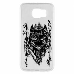 Чехол для Samsung S6 Black wolf with patterns