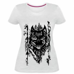 Женская стрейчевая футболка Black wolf with patterns