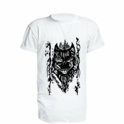 Удлиненная футболка Black wolf with patterns