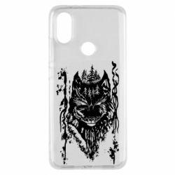 Чехол для Xiaomi Mi A2 Black wolf with patterns