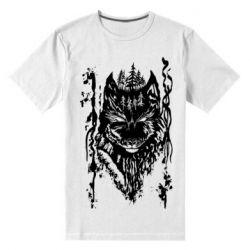 Мужская стрейчевая футболка Black wolf with patterns