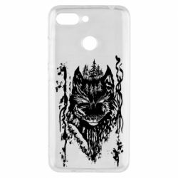 Чехол для Xiaomi Redmi 6 Black wolf with patterns