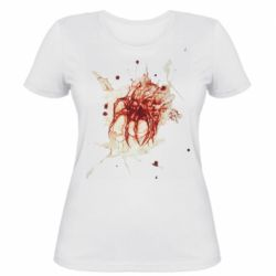 Жіноча футболка Blood stain with skull silhouette